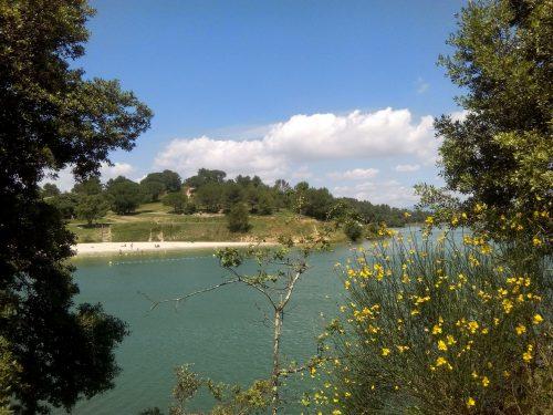 Lac de la Cavayère à Carcassonne. Vue sur la plage